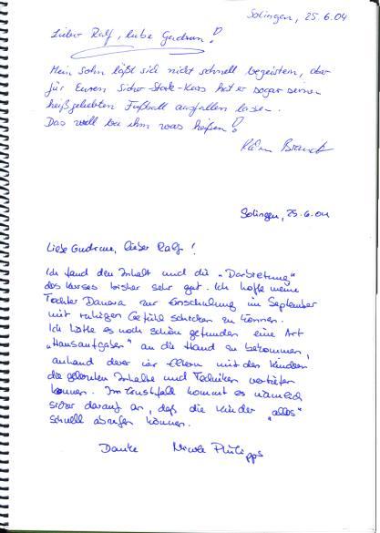 Rückmeldungen / Dankschreiben von Eltern, Lehrer, Schulleiter ...